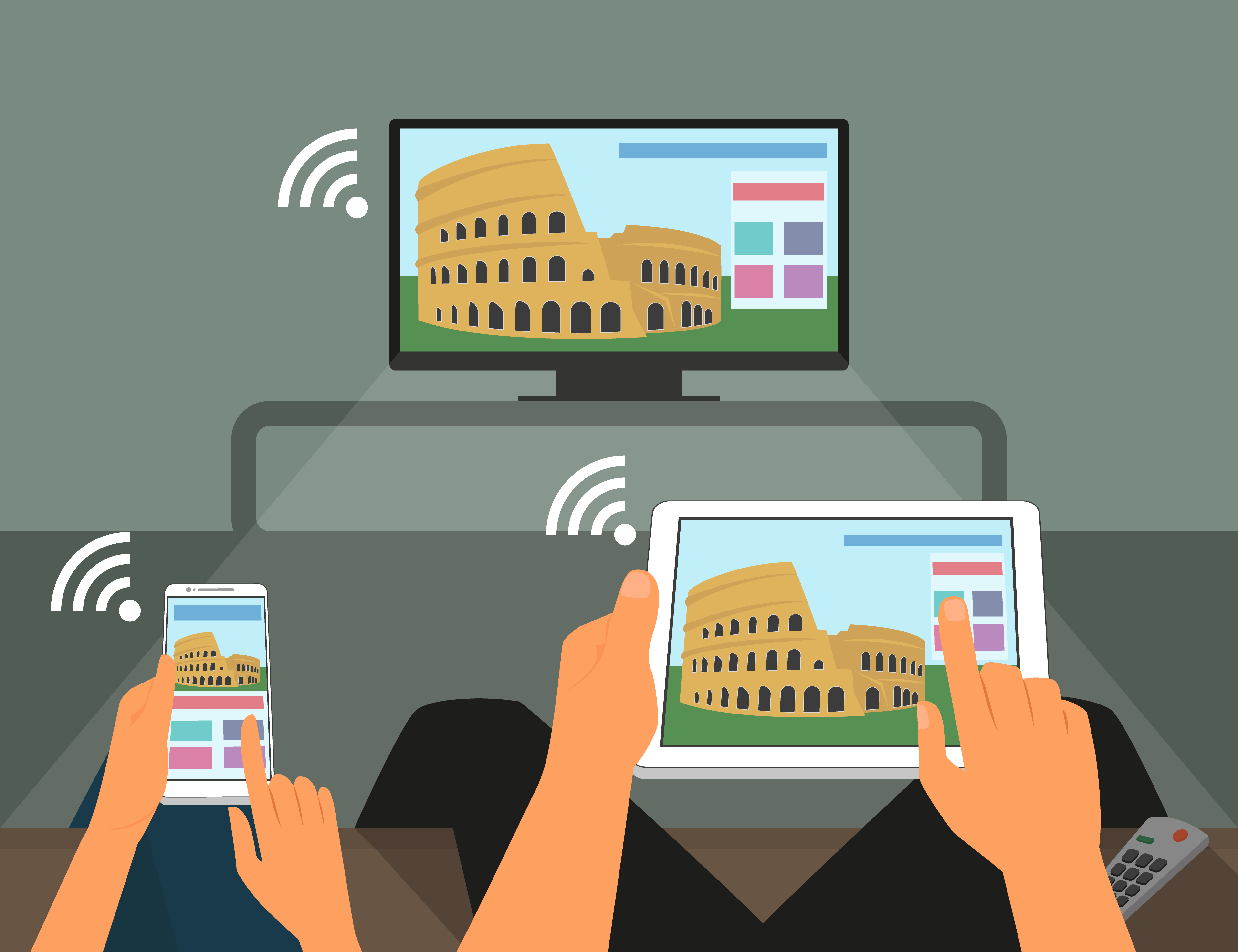 Multiscreen interaction. Man and woman are participating in TV show using smartphone and tablet pc. Contains EPS10 and high-resolution JPEG.